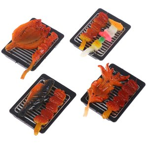Mini Pretend Food Simulation BBQ Miniature Black BBQ Grill Garden Outdoor Accessory For Doll House Kitchen Decoration Toys