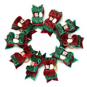 Glitter Noël Pet Ornements cheveux pour animaux Chien Chat de Noël Bows cheveux Puppy Toilettage Archets Accessoires cheveux Elastiques Cadeaux de Noël FFA3393s