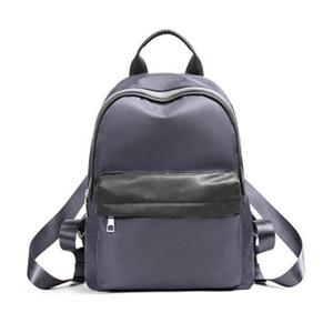Bolsos de hombro de las mujeres Mochila nuevo de la manera de nylon sólido ocasional de muy buen gusto viaje de escuela secundaria para una chica joven estudiante Púrpura Gris Mochilas