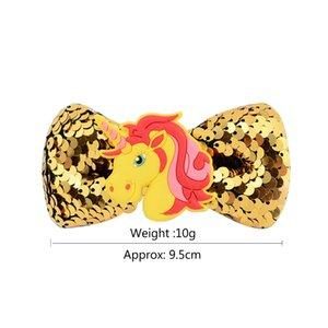 Eco Friendly 9.5cm bébé licorne Paillettes Barrettes épingles à cheveux Moulinet Accessoires cheveux Bow avec des clips 6 couleurs Party cosplay Barrettes