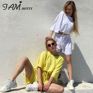 IAMHOTTY Sólido básico camiseta cintura elástica Biker Shorts Two Piece Set Mulheres Casual vestir roupas Salão Ginásio Treino Femme Vintag