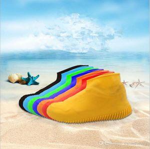 Bottes de pluie Chaussures anti-dérapant imperméable Raincoat Couverture pluie silicone chaussures Chaussures jouer eau Overshoes Anti-patinage Plage Raining Chaussettes DYP121