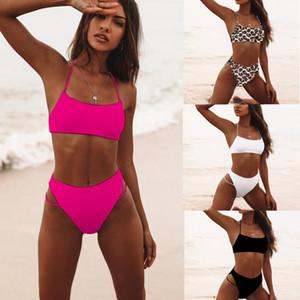 j-4 Sexy Bikinis solide Push Up Bikini 2019 Vente chaude Soutien-gorge rembourré bretelles taille haute Maillots Femmes Imprimer Biquini XL