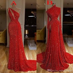 2020 Sexy Burgunder langen Hülsen-Rot Sequin Mermaid Reflektierende Abendkleider Hoch Split Side Abendkleider robe de Soiree