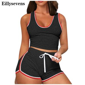 Verão Mulheres Cores sólidas mangas Tops Divisão 2 Piece Lace Up Casual Curto Casual Outfit Sportswear Trainning Exercise Set # g4