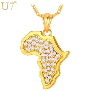 U7 Africa Map Necklace Rhinestone Crystal Gold  Silver Color Pendant &Chain For Men  Women Gift African Jewelry Fashion P369