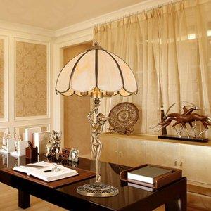 유럽 스타일 주도 테이블 램프 거실 눈 보호 램프 슈퍼 밝은 침실 Bedlamp 주도 연구 사무실 완전 구리 데스크 램프