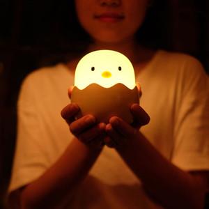 Lámpara de mesa lindo Decorar carga Sensor de luz la noche del huevo de silicona ajustable táctil USB bebé luz de la noche para niños de los niños del regalo del bebé