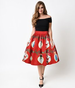 Christmas Style Fashion Knee Length Femal Clothing Cute Dresses Casual Apparel Women Floral Print Summer Designer Skirts