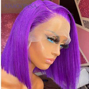 Mor Renkli İnsan Saç Peruk Düz Dantel Açık Peruk Kısa Bob Peruk Öncesi Mızraplı ile Bleach Knots Perulu Remy Aimoonsa