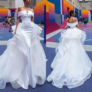 Vestidos de novia de sirena vintage 2019 Tren desmontable fuera del hombro Pliegues de manga corta Volver espalda Vestidos de novia de playa personalizados