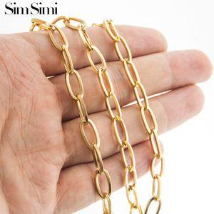 Cadeia Colar vender 100% Homens Oval Ouro / Prata Stainless Steel por linha de metro quadrado No fecho 6 milímetros Largura para fazer jóias