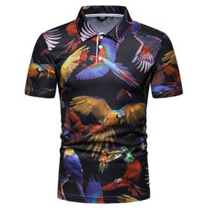 Manga corta con estilo caliente de la venta de los hombres de Eagle 3D Print Slim Fit Po-lo Camisas Tops señores ocasional del verano ropa cómoda M-XXL