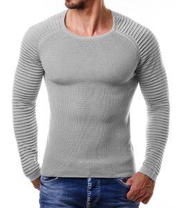 Mens girocollo maglioni Arm Rib Pieghe design sottile maglioni Hommes Solido Colore Fit lavorato a maglia delle parti superiori di inverno di autunno maglioni