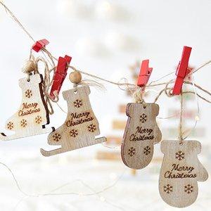 Weihnachtsstiefel Hanging-Drop-Verzierung 2019 heiße Verkaufs-Holz Farbe Weihnachten Handschuhe Roller Skates Dekorative Anhänger