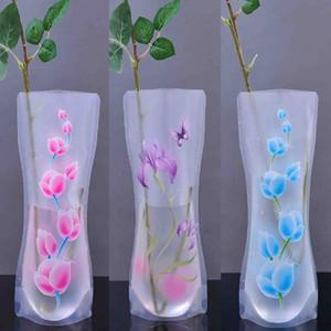 Dobrável Vaso de flor Vaso de plástico portátil Eco-amigável do casamento bonito Home Office Decoração aleatória PVC Vaso de flor de plástico
