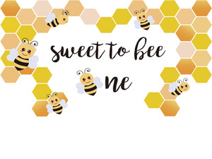 Sweet to Bee One Banner Vinyl Photography Backdrops Honey Baby Shower Photo Booth Backgrounds for Children Birthday Party Studio Props