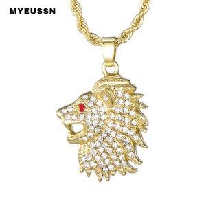 Cabeza de león hacia fuera helado colgante completa Bling Bling oro / plata con joyería Cadenas de moda de alta calidad de collar para los hombres Hop Simba