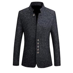 Giacche da uomo vintage di marca Cappotti da uomo in stile cinese Blazer casual Stand colletto Primavera Autunno Giacche Giacca da uomo slim fit