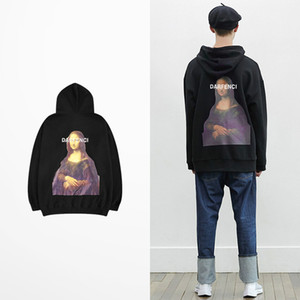 Mona Lisa Darfenci Print Fleece Sweatshirt Men Retro Punk Rock Hip Hop Sweatshirt 2018 Quality Mens Hoodies And Sweatshirts