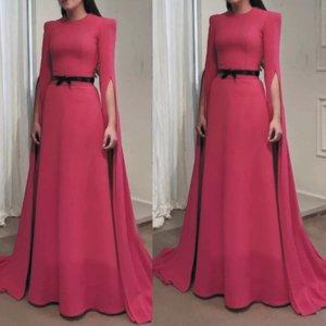 Dubaï Caftan 2020 robes de soirée rose chaud long élégant simple soirée pas cher Robes à manches longues ceinture noire Robe Mère de robe fest