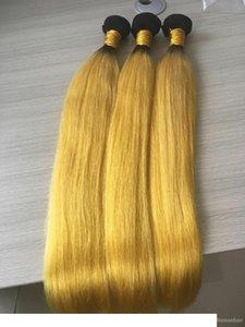 C 3 Связки Ombre Hair Extension Желтого Ombre волос Уток ткет Бразильские шелковистый прямую Связка Оптового волос