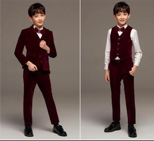 Smoking de la boda traje de terciopelo del desgaste formal de niño Nueva formal Escudo del niño del cabrito de las bragas partido del vino rojo Boy personalizada de tops + chalecos