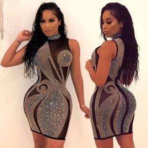 Strass Panelled delle donne sexy vestiti delle donne irregolare Prospettiva Abiti casual Designer Colorful femmine Abbigliamento
