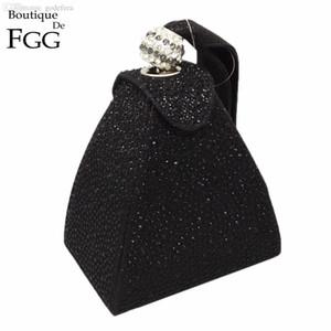Al por mayor-Mujeres Wedding Party Fashion Mini Black Gliter Pyramid Wristlets Handbag Clutches Hot-Fixed Crystal Diamond Evening Clutch Bags