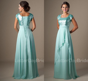 Mint Sequins Chiffon Modest Bridesmaid Dresses Short Sleeves Long Evening Maids of Honor Dresses Simple 2019 A-line Wedding Guests Dresses