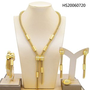 Yulaili Bridal Dubai Gold Jewelry Sets for Women Fashion Chain Pendant Necklace Earrings Ring Bracelet African Wedding Jewellery