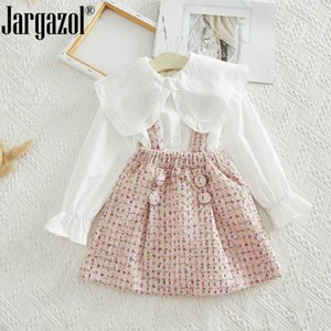 Mode layette Set Chemisier blanc chemise et rose Dans l'ensemble Jupe Tenues Automne enfant en bas âge Cute Girl Set Vêtements pour enfants
