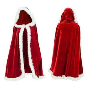 Beyaz Kabarık Trim ile 1.2m Noel Kırmızı Kadife Noel Baba Deluxe Cloak Cape