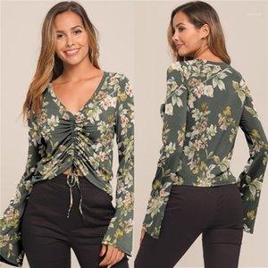 Womens Designer T-shirts Sexy col en V manches Flare Femmes T-shirts lambrissé Drawstring femelles Vêtements décontractés imprimé floral