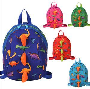 Mochilas para niños dinosaurio de dibujos animados impreso bebé niña kindergarten poliéster mochila lindo niño verde azul cremallera mochila