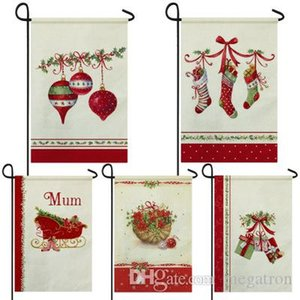 Christmas retro series waterproof linen garden flag double-sided garden festival flag