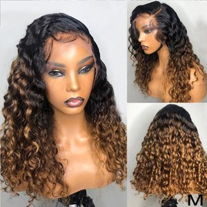 APAF Mel loira rendas frente Wigs Ombre 1BT30 humano peruca Colored Hair Curly Lace Wig frontal 180% Densidade