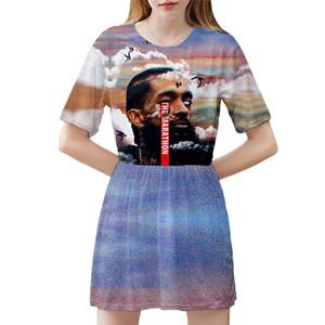 Nipsey Hussle Imprimé Femmes Robe Mode à manches courtes Jupe été Robe plissée Casual