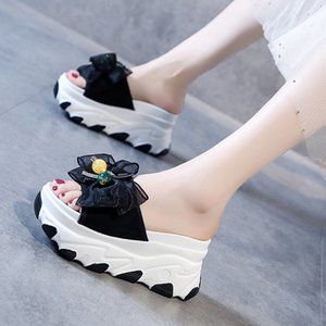 Slippers Women Slides Bow Summer Sandals Bow-Knot Slippers Thick Soles Internal increase Platform Female Beach Shoes Flip Flops