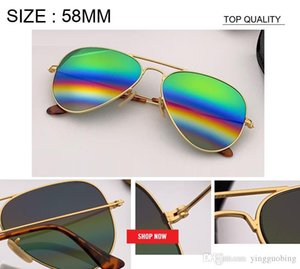 2019 Men's Aviation Sunglasses woman rainbow flash Mirror Sunglass HD Driving uv400 Sun Glasses lunettes de rd3025 reflected gafas 58mm size