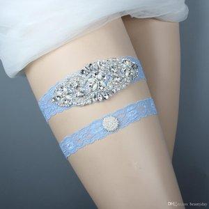 파란 신부 다리 피자 Garters 결정 진주 신부 레이스 결혼식 Garters 벨트 유일한 디자인 자유로운 크기 15에서 23 인치 Wedding Leg Garters