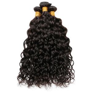 9A бразильский Индийский малайзийский перуанский волна воды девственные человеческие волосы ткет пучки влажные и волнистые Реми наращивание человеческих волос естественный цвет