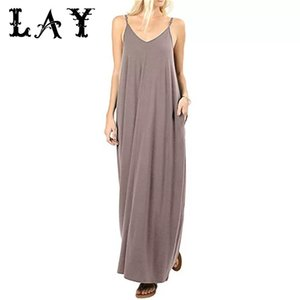 Womens Long Halter Dress Black Summer Homewear Beach Party Sundress 2020 Everyday Simple Vintage Sexy Solid Loose Swing Dresses