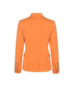 Двойной Брестед куртка Женщина нагрудных шеи Тонкого костюм осень весна женщины OL Blazer Solid