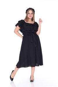 Лира Большого размера женщины рябить пол Rob черного платье L1611 корабль из Турции в 2574