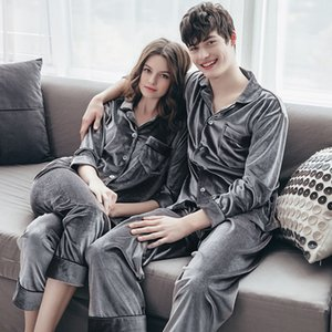 High-End European and American Style Autumn and Winter Couple Gold Velvet Pajamas Men and Women Couple Sexy Warm Womens Home Service Suit