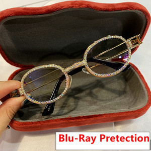 Pretection Retro Round Sunglasses Women Vintage Steampunk Sun glasses Men Clear lens Rhinestone sunglasses Oculos