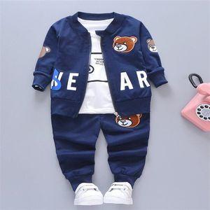Children Boys Girls Clothing Sets Spring Autumn new Fashion Cotton Coat + T-shirt + Pants 3 Pcs Set Tracksuit Kids Baby Clothes