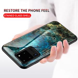 Schlank Marmor-Telefon-Kasten für Samsung-Galaxie S20 Ultra-S10 Note20 Anmerkung 10 Plus-A71 A51 A70 A50 A30 A10 ausgeglichener Glasdeckel