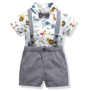 0-24 Monate Säugling Baby Baby Fashion Wear Zoo-Baby-Baby-Hosenträger Shorts Kleinkind-Rosa-T-Shirt + Hose + bowknot Outfits